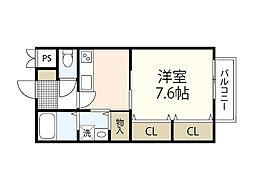 JR可部線 安芸長束駅 徒歩10分の賃貸アパート 1階1Kの間取り