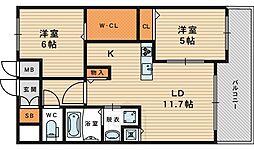 大阪府大阪市城東区鴫野西2丁目の賃貸マンションの間取り