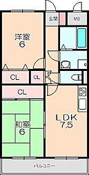 アルカディア箕輪[105号室]の間取り