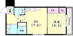 フジパレス小松南町 3階1LDKの間取り