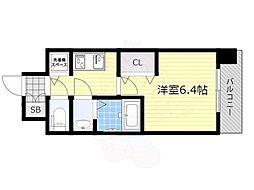ララプレイス新大阪LD 2階1Kの間取り