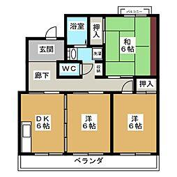 レイクリバー安西II[2階]の間取り