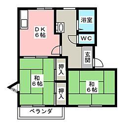 ユタカハウスA[1階]の間取り