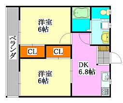 プレジール二宮[2階]の間取り