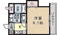 エム・ステージ矢田 3階1Kの間取り