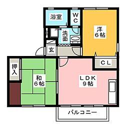 コーポ深町B[2階]の間取り