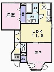兵庫県加東市下滝野3丁目の賃貸アパートの間取り
