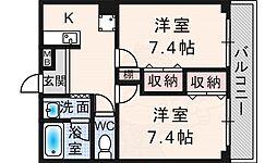 フォレスト・ヒル櫻 3階2Kの間取り