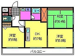 アジュール&8490;Ix 3階3DKの間取り