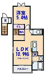 千葉県市川市末広1丁目の賃貸アパートの間取り