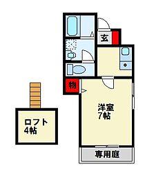 エスポワール祇園 1階1Kの間取り