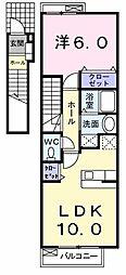 東京都東大和市南街1丁目の賃貸アパートの間取り