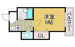 大阪府大阪市東住吉区矢田4丁目の賃貸マンションの間取り