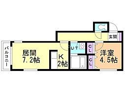 アヴァンツァーレ 3階1DKの間取り
