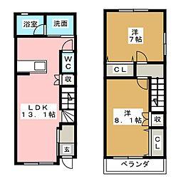 [テラスハウス] 愛知県稲沢市千代町東郷 の賃貸【/】の間取り