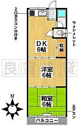 愛知県名古屋市昭和区折戸町2丁目の賃貸アパートの間取り