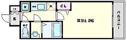 プレサンス心斎橋クオーレ 9階1Kの間取り
