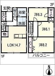 [一戸建] 愛知県名古屋市守山区喜多山1丁目 の賃貸【/】の間取り