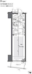 都営大江戸線 都庁前駅 徒歩6分の賃貸マンション 8階1Kの間取り