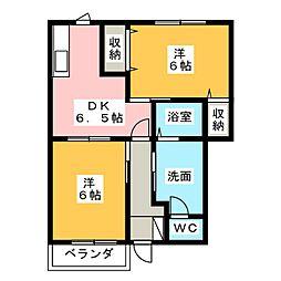 オアシスA[2階]の間取り