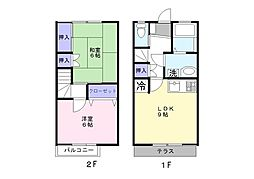 [テラスハウス] 千葉県松戸市和名ケ谷 の賃貸【千葉県 / 松戸市】の間取り
