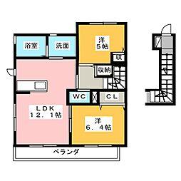 ソレイユ垂水 B[2階]の間取り