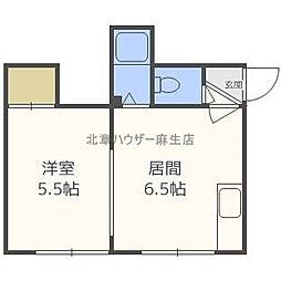 北海道札幌市北区新琴似七条1の賃貸アパートの間取り