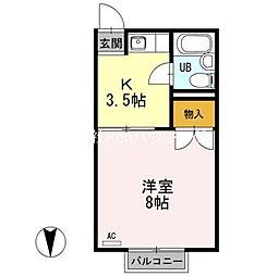 JR鳴門線 鳴門駅 徒歩30分の賃貸アパート 2階1Kの間取り