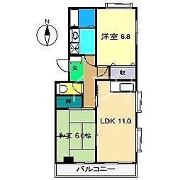 シャトレ十和[3階]の間取り
