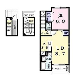 群馬県高崎市新町の賃貸アパートの間取り