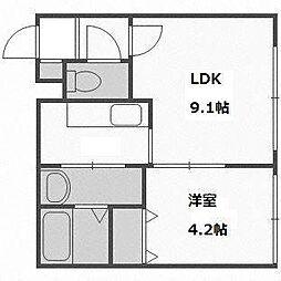 北海道札幌市豊平区平岸二条9の賃貸マンションの間取り