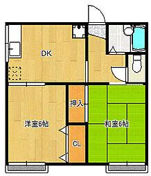千葉県習志野市藤崎2丁目の賃貸アパートの間取り
