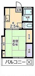 東京都国分寺市西恋ヶ窪2丁目の賃貸アパートの間取り