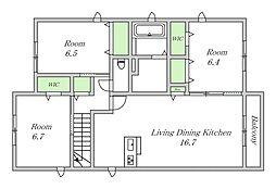 近鉄南大阪線 今川駅 徒歩7分の賃貸アパート 2階3LDKの間取り