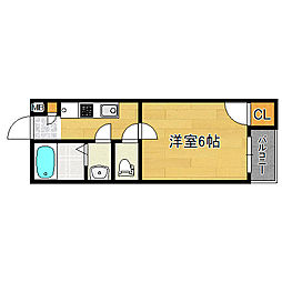 モダンアパ―トメント平野本町 3階1Kの間取り