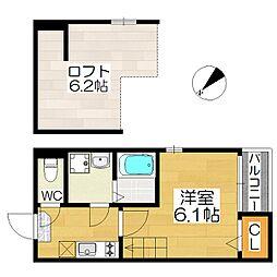 大阪府堺市堺区戎之町東4丁の賃貸アパートの間取り