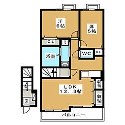 ファインティアラ[2階]の間取り