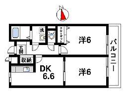 奈良県奈良市西大寺芝町1丁目の賃貸アパートの間取り