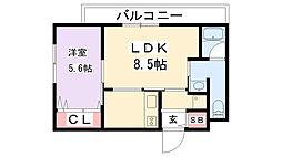 京阪本線 寝屋川市駅 徒歩7分の賃貸マンション 2階1LDKの間取り