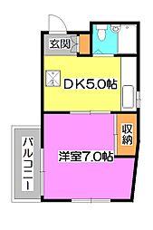 東京都清瀬市松山1丁目の賃貸マンションの間取り