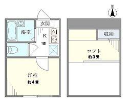 東京メトロ丸ノ内線 東高円寺駅 徒歩10分の賃貸アパート 2階1Kの間取り