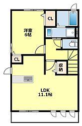 名鉄豊田線 三好ヶ丘駅 4.7kmの賃貸アパート 2階1LDKの間取り