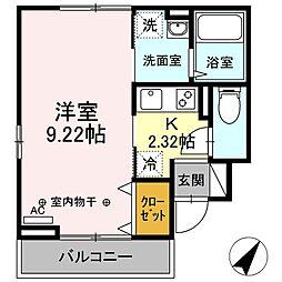 (仮)D-room舎人3丁目 1階1Kの間取り