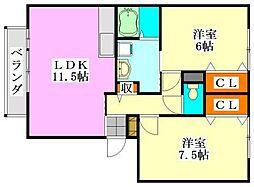 千葉県船橋市本郷町の賃貸アパートの間取り