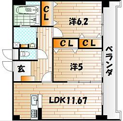 ルボンディ−ル・キティ[5階]の間取り