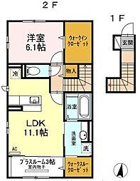 新潟県新発田市豊町4丁目の賃貸アパートの間取り