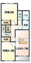 愛知県豊明市栄町の賃貸アパートの間取り