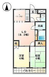 レジデンス花水木[2階]の間取り