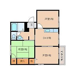 奈良県橿原市御坊町の賃貸アパートの間取り