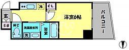 エステムコート大阪新町 8階1Kの間取り